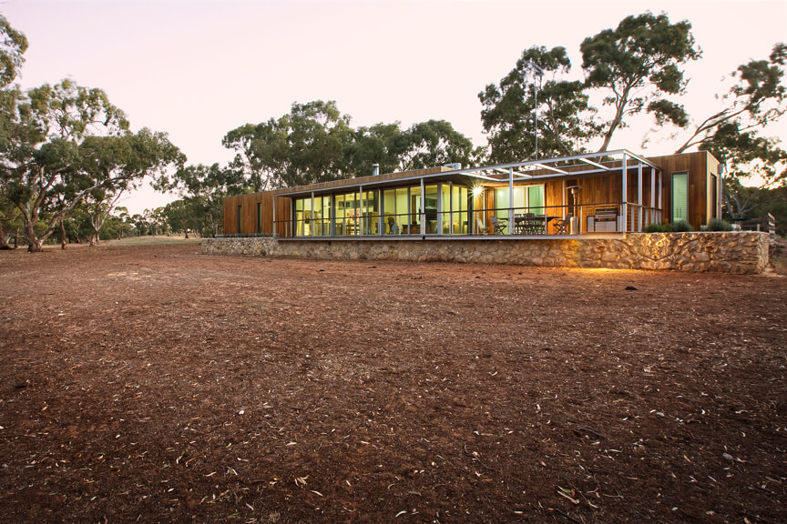 Off grid eco friendly modular home in South Australia