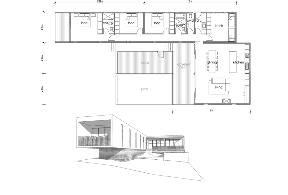 floor plan of Portsea Modular Beach House
