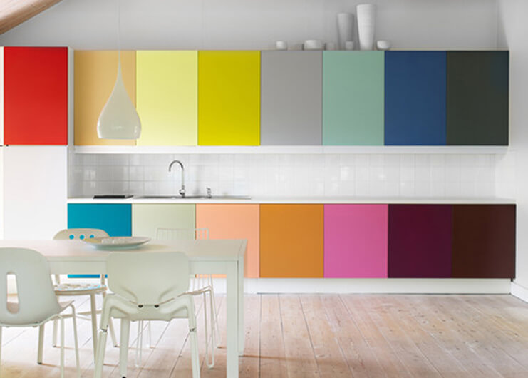 Modern home designs with a colourful kitchen