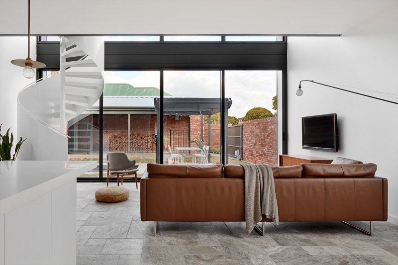 Luxury living space inside 2 story modular home