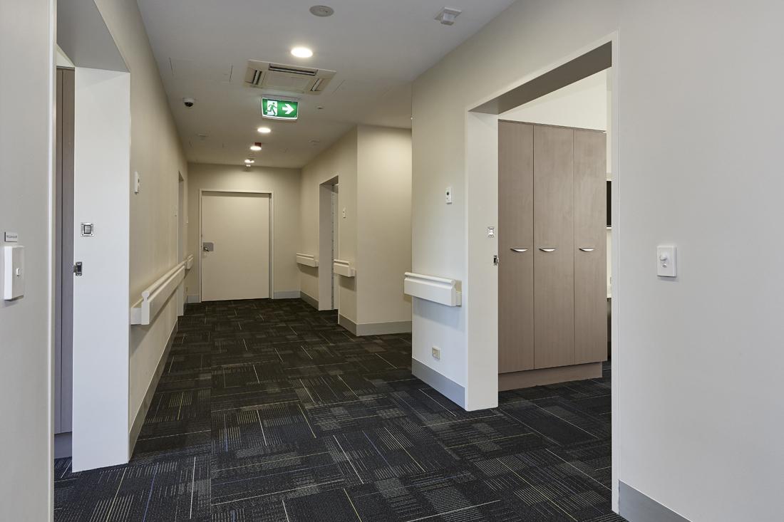 Hallway inside modular built health facility