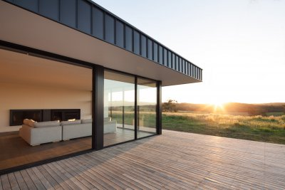 Angled shot of prefabricated home decking