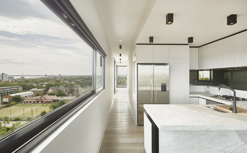 Interior view of prefabricated apartment in St Kilda