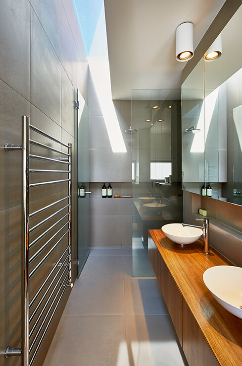 Bathroom design by Modscape. Modular home in Alphington