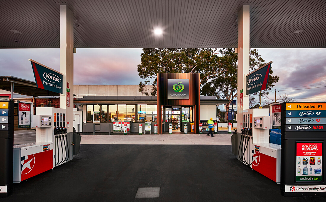 Front view of prefab built Woolworths petrol station