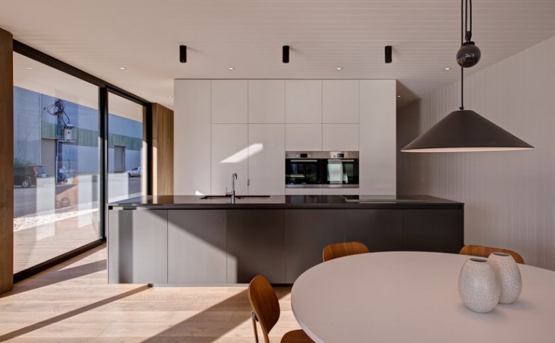 Interior kitchen lighting in a prefabricated modular building