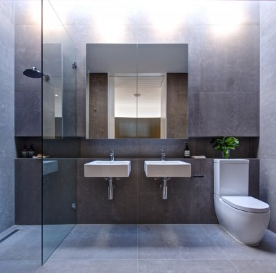 Luxury modular home bathroom