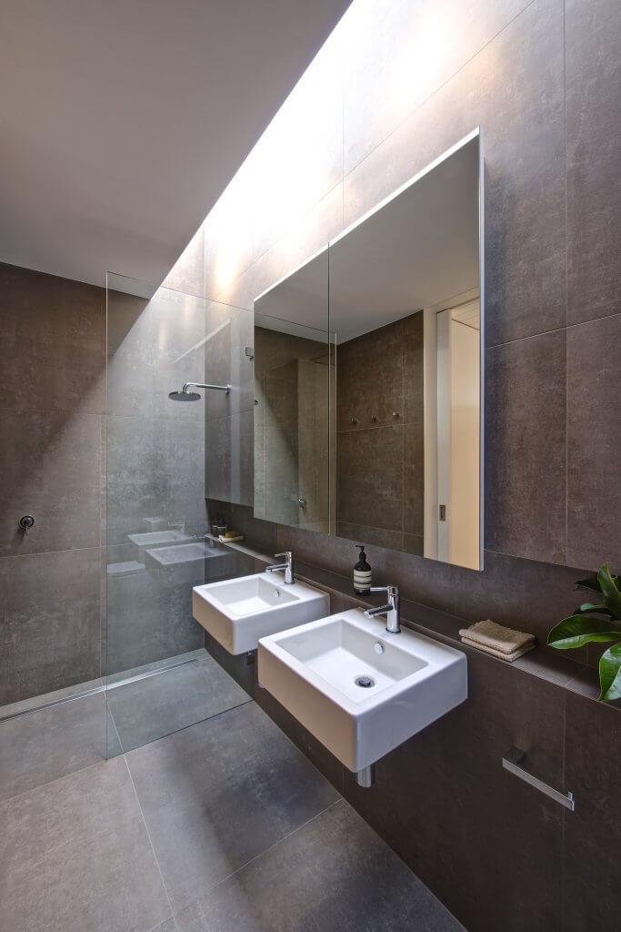 Duel sink spacious bathroom in prefabricated home
