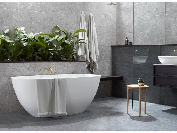 Designer bathroom in prefab modular home
