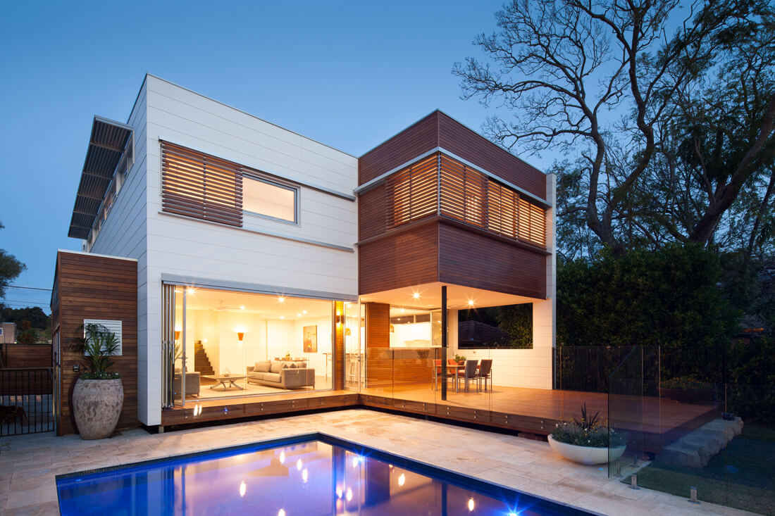 Luxurious two story modular home with decking and pool