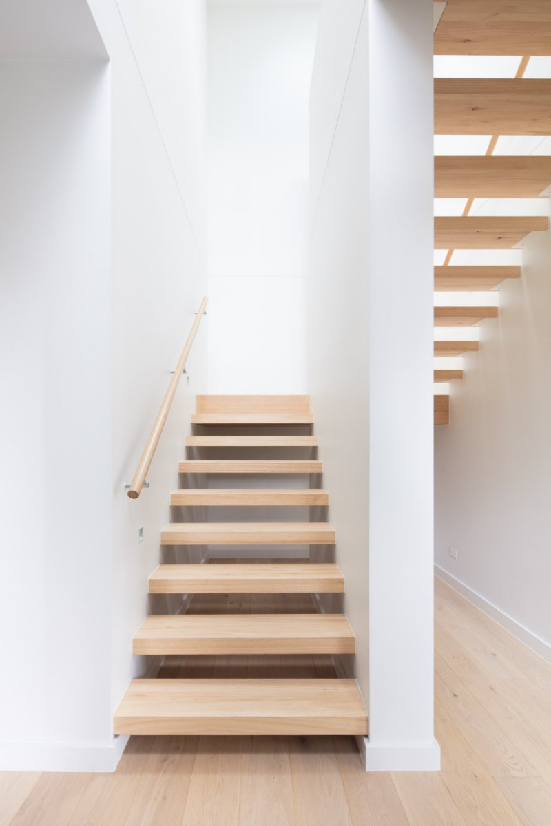 Interior stairs of two story prefab home