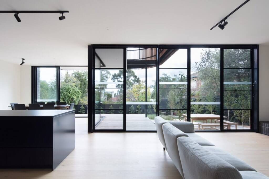 Black and white interior of modular home