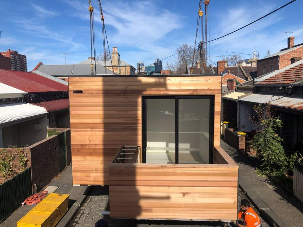 Modular extension by Modscape prepared for installation