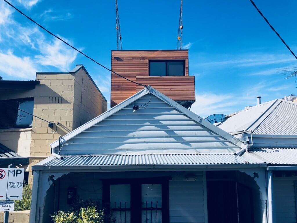 Modular extension by Modscape being installed in Carlton