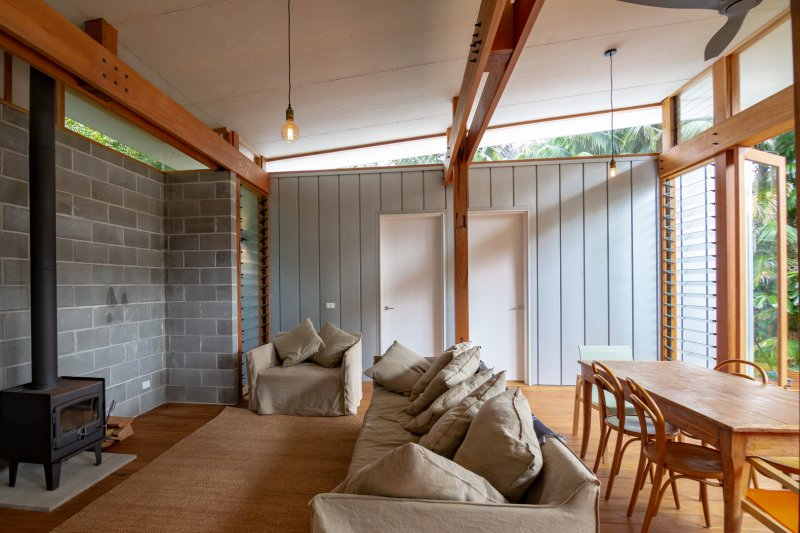 Open plan interior of a prefab built home