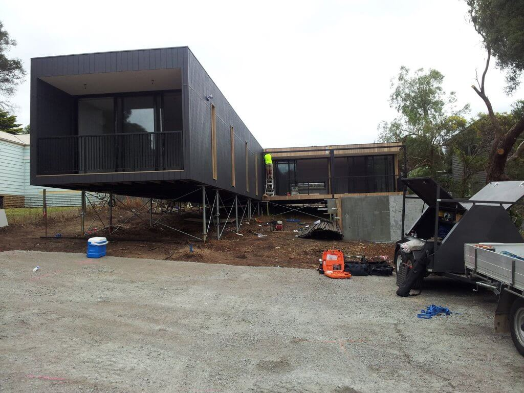 Screw pile footings for a modular home in Portsea