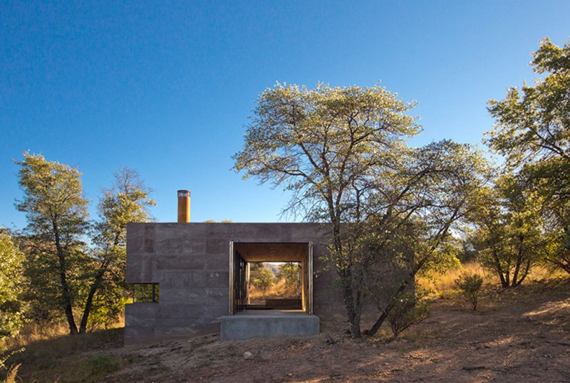 Exterior side-view of remote modular built house